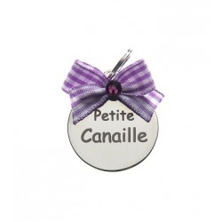 "Médaille ""Petite Canaille"" noeud vichy lilas"